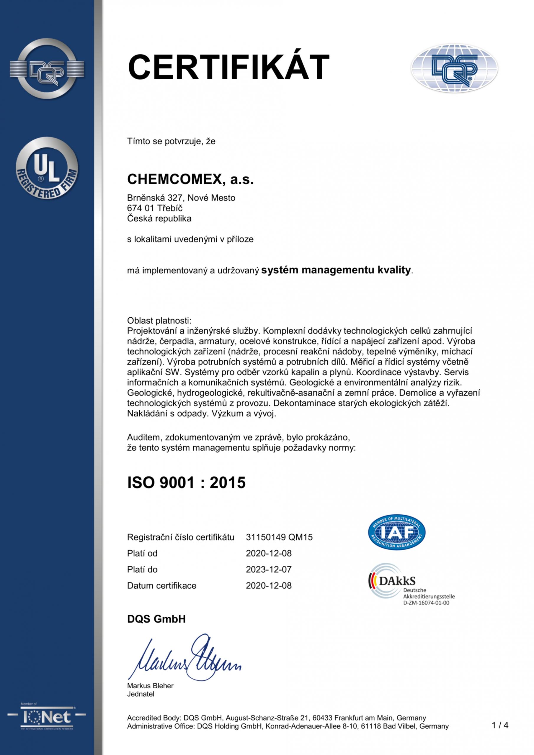 Společnost CHEMCOMEX, a.s. změnila certifikační společnost